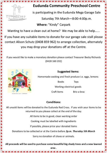 Eudunda Communty Preschool Centre - Mega Garage Sale stop 7th March 2020