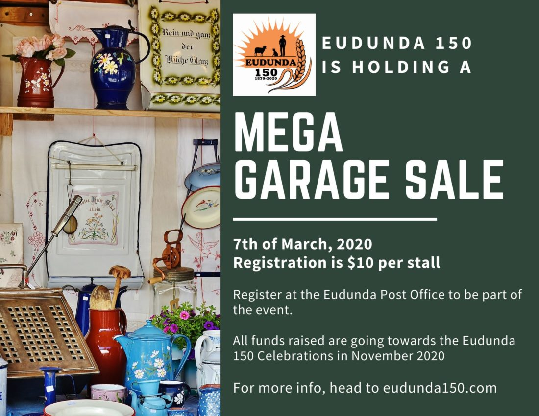 Mega Garage Sale - Eudunda - 7th Mar 2020